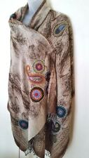 PURE WOOL PAISLEY EMBROIDERED LUXE Blanket Wrap/Shawl/Scarf BNWT - IN SALE!!