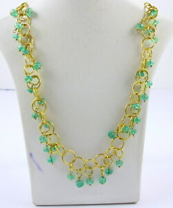 """Estate 14K Gold Filled Natural Emerald Ladies Necklace 20"""" Long Fine Jewelry"""