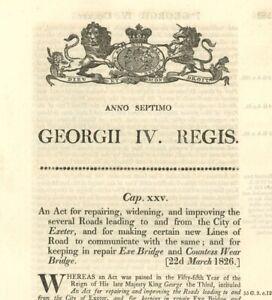 Antique Act of Parliament Repairing Roads Exeter Exe Bridge Wear 1826 document