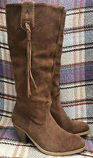 Suede Cowboy Western Leather Boots Tan Brown Tassel Knee High Slough Sz 4 EUR 37