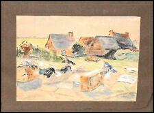 AQUARELLE - SCÈNE BRETONNE Les LAVANDIÈRES - Monogramme LO 1937