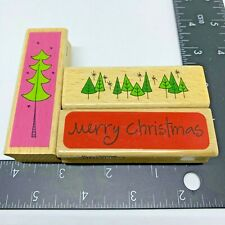 Katie & Co Rubber Stamp Merry Christmas, Pine Tree Border and Tree Set of 3