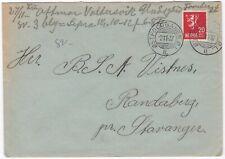 1937 NORWAY COVER OSTFOLDBANEN O L POSTMARK TO RANDABERG BY STAVANGER - RAILWAY
