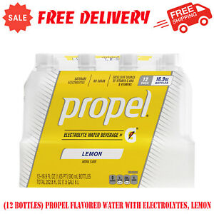 (12 Bottles) Propel Flavored Water with Electrolytes, Lemon, 16.9 fl oz, Water