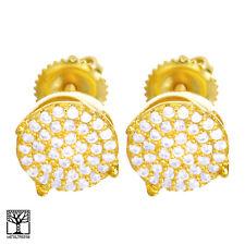 Men's Iced CZ 14k Gold Plated 9 mm 3D Round Screw Back Stud Earrings SE 027 G