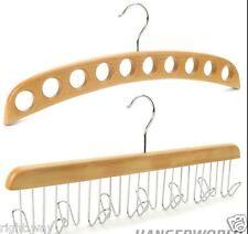 Combo Natural Wooden Tie Belt Jewelry Hanger + Scarf Stole Wood Hanger