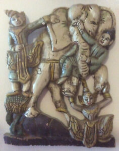 ANTIQUE Carved wood Buddha + elephant temple wall sculpture BURMA Myanmar FINE