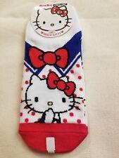 Sanrio Socks Adult Hello Kitty Red White Blue Bow