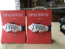 "Opalhouse- 4"" Ceramic Fish Pot Percher Blue & White Qty of 2"