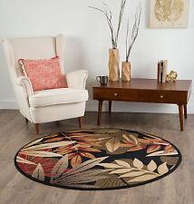"8' Round (7'10"") Tropical Palm Floral Coastal Black Area Rug"
