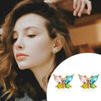 Sterling Silver Ear Stud Studs Rhinestone Butterfly Earrings Womens