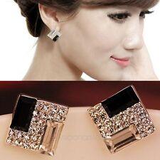 Korea Fashion Women Lady Elegant Crystal Rhinestone Square Ear Stud Earrings