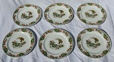 "6 Wood & Son Shola China Burslem England Oriental Plates 9"" Phoenix Bird Lotus"