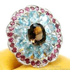 XXL 6,7 ct Rauchquarz Quarz Topas Blautopas Rubin Ring 925 Silber 18,4 mm Gr. 58