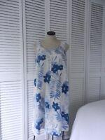 J. Jill love linen women's white-blue floral print sleeveless linen dress Size M