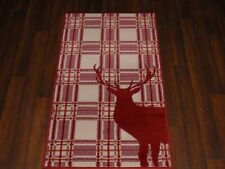 NEW MAT/RUG NOVELTY DESIGNS 60CMX110CM BARGAIN STANDING CHECK STAG REDS/CREAM