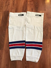 Game Worn New York Rangers Hockey Socks Nhl L Used White Large Pro Stock Rbk
