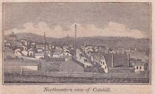 original c1841 wood engraving, John W. Barber: Town of Catskill, Hudson River