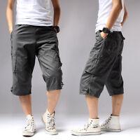 "Mens Cargo Capri Shorts Pants Rope Casual 100% Cotton Big Size Waist 28""-44"""