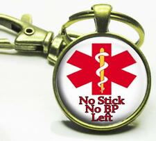 No Stick No BP Left Medical Alert Glass Top Key Chain Medical Emergency Alert