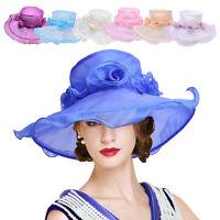 Women's Kentucky Derby Church Wedding Organza Wide Brim Dress Hat A424