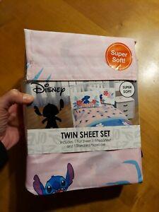 Disney Lilo & Stitch Super Soft Twin Sheet Pink Set Bed Bedding RARE