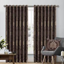 "Pair Of Jacquard Ring Top Window Curtains 90"" x 90"" Inc Tie Backs (Chocolate)"