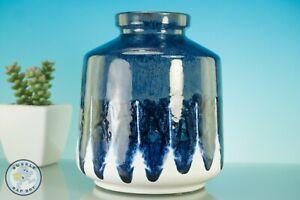 RETRO 70's STYLE POT VASE HOME INTERIOR DESIGN BLUE WHITE DRIP GLAZE