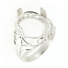 Art Deco Sterling Silver Semi Mount Ring Setting Oval Cut OV 13x18mm Size 7