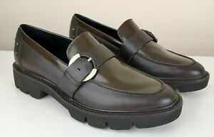 Geox Respira Quinlynn Brown Leather Slip On Buckle Loafers Shoes UK 3 EU 36