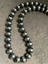 Navajo Pearls 16mm Sterling Silver Beads Necklace 24 Inch