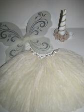Fairy Princess Wings HEADBAND tutu unicorn horn costume child girl 2-5 yrs ivory