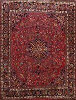 Vintage Floral Kashmar Signed Hand-knotted Area Rug Wool Oriental Carpet 10'x11'