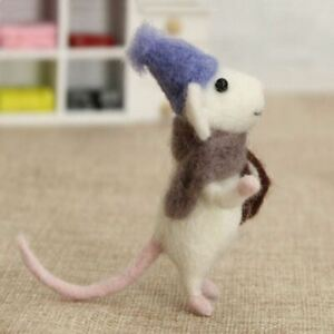 Felting Kit - White mouse with scarf and book
