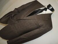 Exquisite Joseph Abboud men's Brown check 100% wool jacket coat 42 R