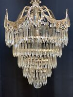 Antique Art Deco Crystal Wedding Cake Chandelier Tier Drape Silver Finish