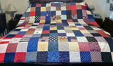 COUNTRY COTTAGE RED, WHITE & BLUE, STARS & STRIPES FOLK ART AMERICANA PATCHWORK