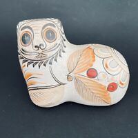 Tonala Mexico folk art hand painted Mexican pottery cat, signed JP