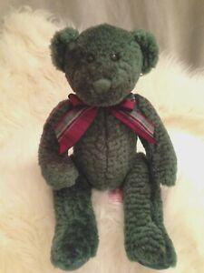 "Russ Berrie Spearmint 11"" Bear Green Plush Stuffed Animal Pellets Plaid Bow Toy"