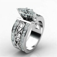 HOT 925 Silver Marquise Cut White Sapphire Ring Women Party Jewelry Size 6-10