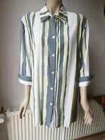 Le-go Damen Bluse 3/4 Ärmel strukturiert Gr. 46 mehrfarbig Streifen Viskose