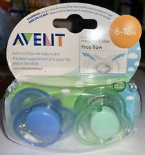 Phillips Avent Free Flow Baby 6-18M Set of 2 Pacifiers Blue & Green ~ NEW SEALED