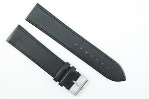 22mm Uhrenarmband Leder Schwarz Länge: XL