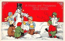 # M2398    NEW YEARS    POSTCARD,  SNOWMAN  & CHILDREN