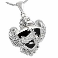 Stainless Steel Eagle / Biker Cremation Pendant Urn Jewelry Holds Ashes Harley