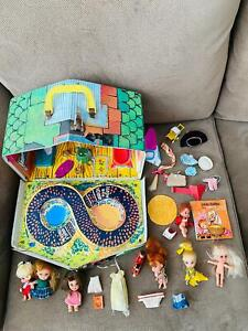 Liddle Kiddles Klub Club House, Open House, Figures Accessories, 1960's HUGE LOT