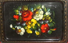 Vintage Soviet Russian Hand Painted Floral Metal Serving Tray