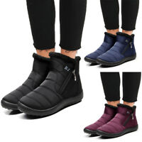 Women Winter Warm Fur Lining Ankle Boots Ladies Flat Slip On Waterproof Shoes