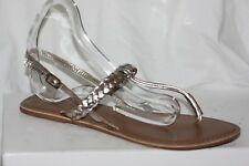 NEW LOOK UK 7 40 SILVER GOLD METALLIC PLAITED leather TOE POST SANDALS FLAT