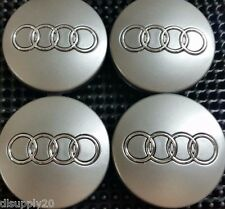 4 Pcs, Audi Wheel Center Cap Gray Chrome Logo 60 MM - A3, A4, A6, A8, TT, Q7, S4